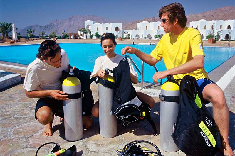 Pool session of PADI Open Water Diver Course
